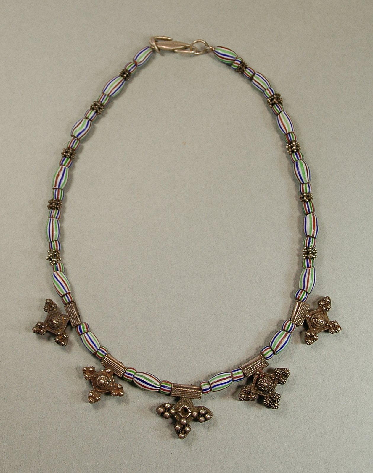 Necklace: Berber silver crosses, Jemen silver, Murano beads